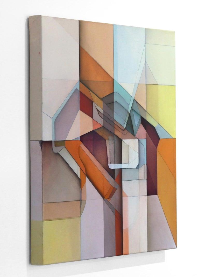 Lost Grid 319 - Beige Abstract Painting by Evan Venegas
