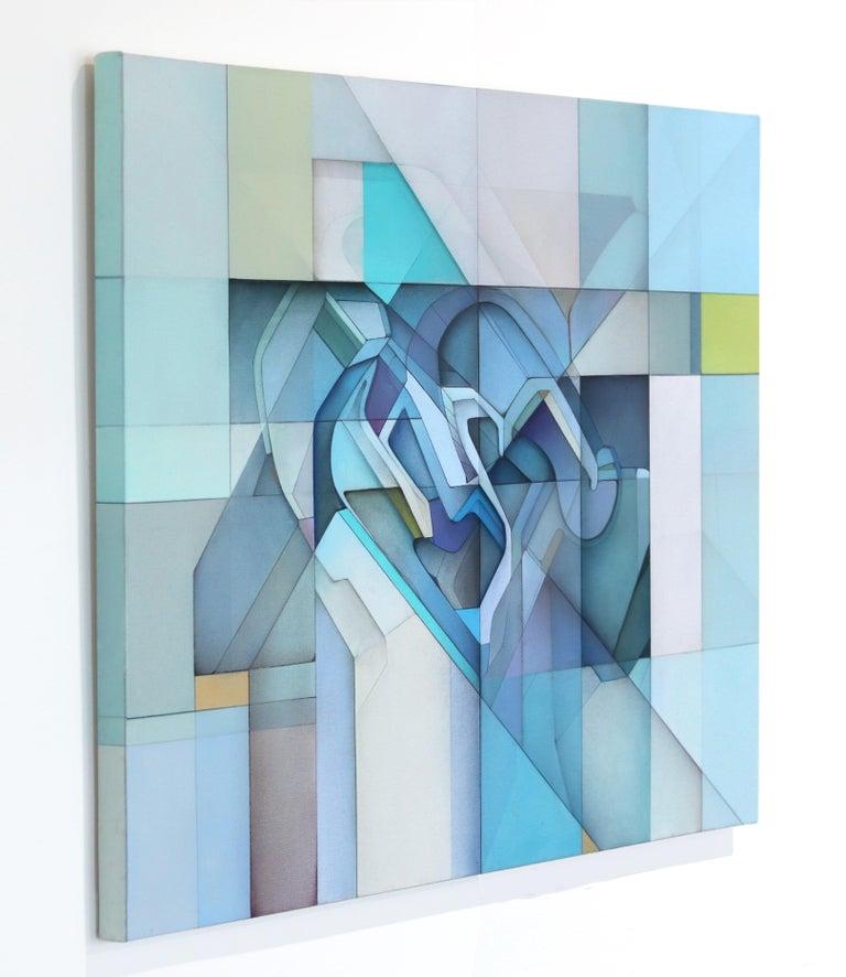 Lost Grid 71919 - Blue Abstract Painting by Evan Venegas