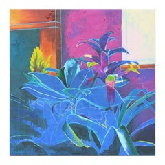"""""""House Plants (Blueprint)"""" Abstract Colorful Floral Interior Still Life Painting"""