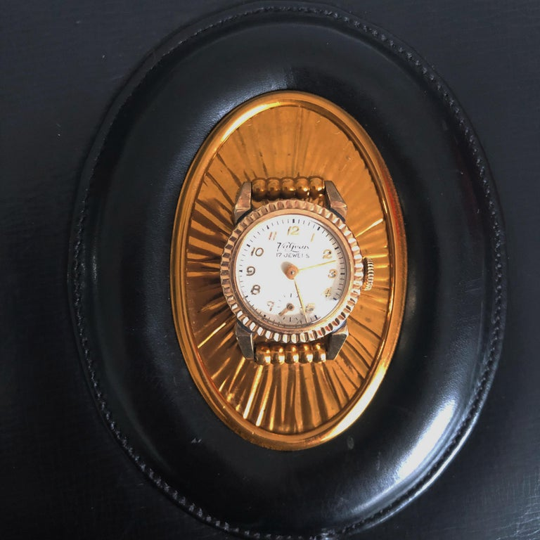 Evans Black Calf Handbag with Clock & Mirror Compact Deco Style 50s Vintage In Good Condition For Sale In Port Saint Lucie, FL