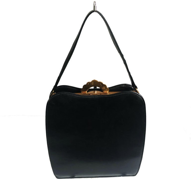 Evans Black Calf Handbag with Clock & Mirror Compact Deco Style 50s Vintage For Sale 1