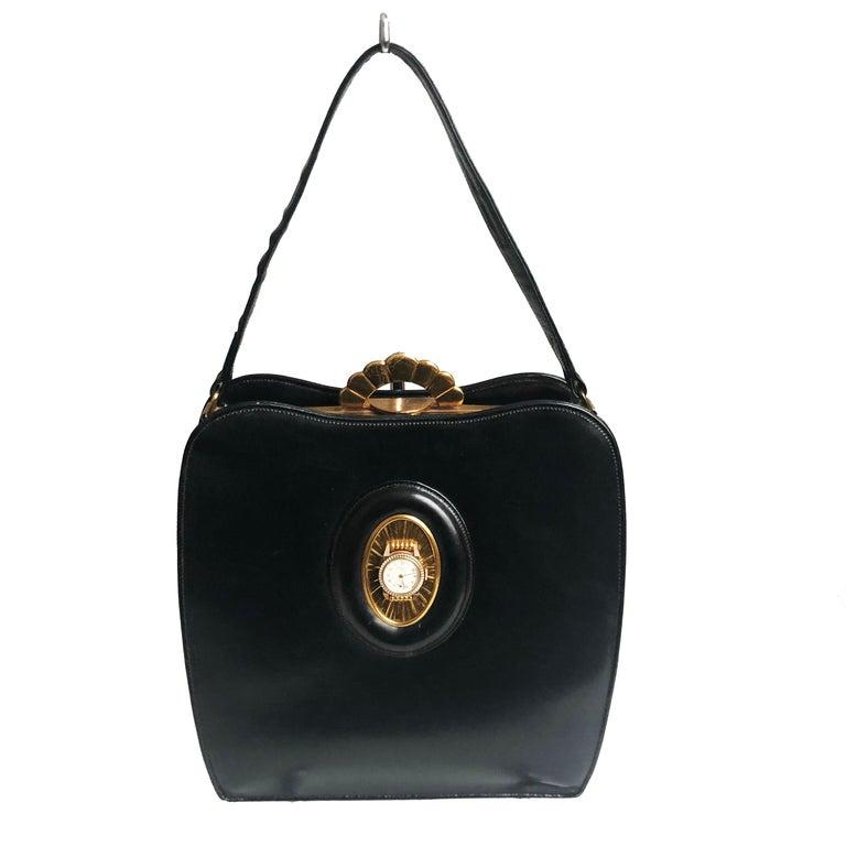 Evans Black Calf Handbag with Clock & Mirror Compact Deco Style 50s Vintage For Sale 2