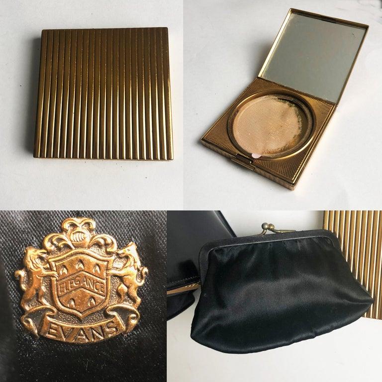 Evans Black Calf Handbag with Clock & Mirror Compact Deco Style 50s Vintage For Sale 4