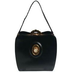 Evans Black Calf Handbag with Clock & Mirror Compact Deco Style 50s Vintage