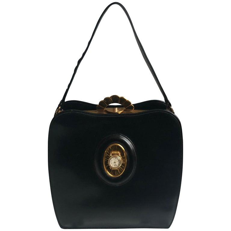 Evans Black Calf Handbag with Clock & Mirror Compact Deco Style 50s Vintage For Sale