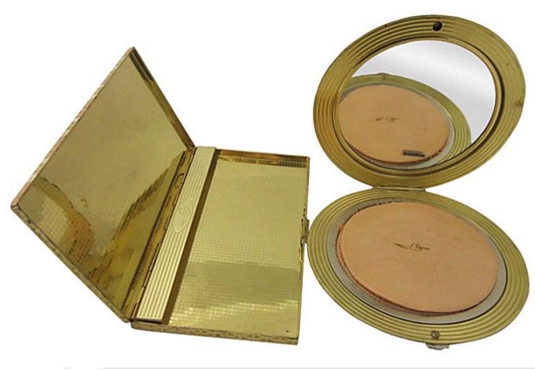 Brown Evans Tri Color Gilt Sterling Silver Compact and Cigarrette Case Set For Sale