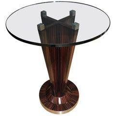Evanson Glass Top Zebrawood Bar Table