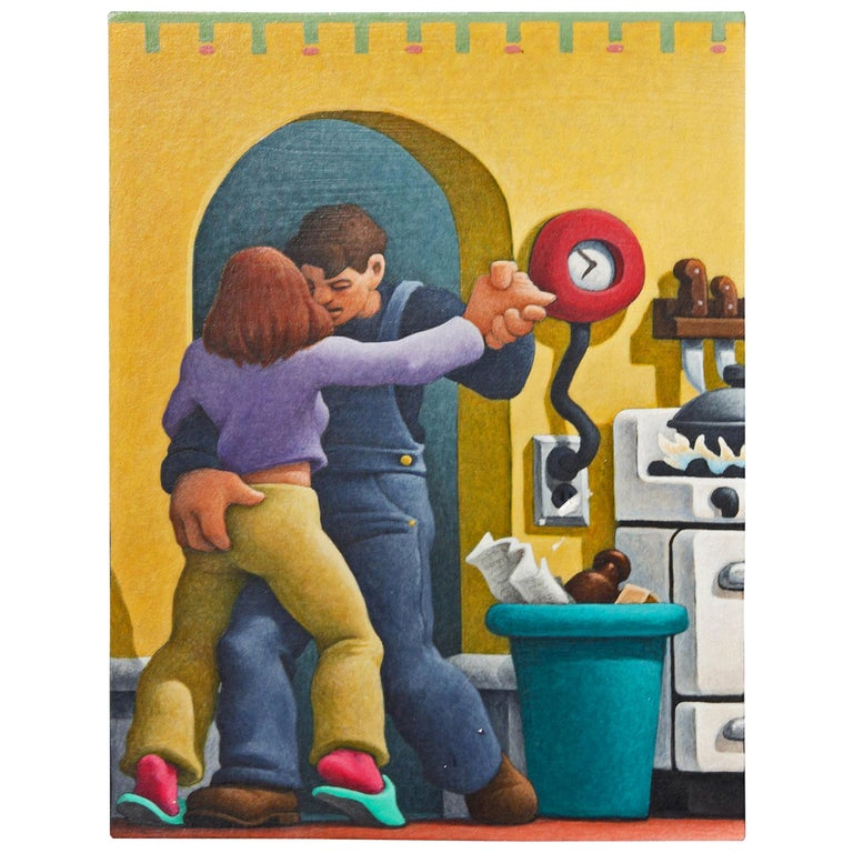 Eve and Adam a Painting by Leonard Dufresne Regionalist Style Painting For Sale