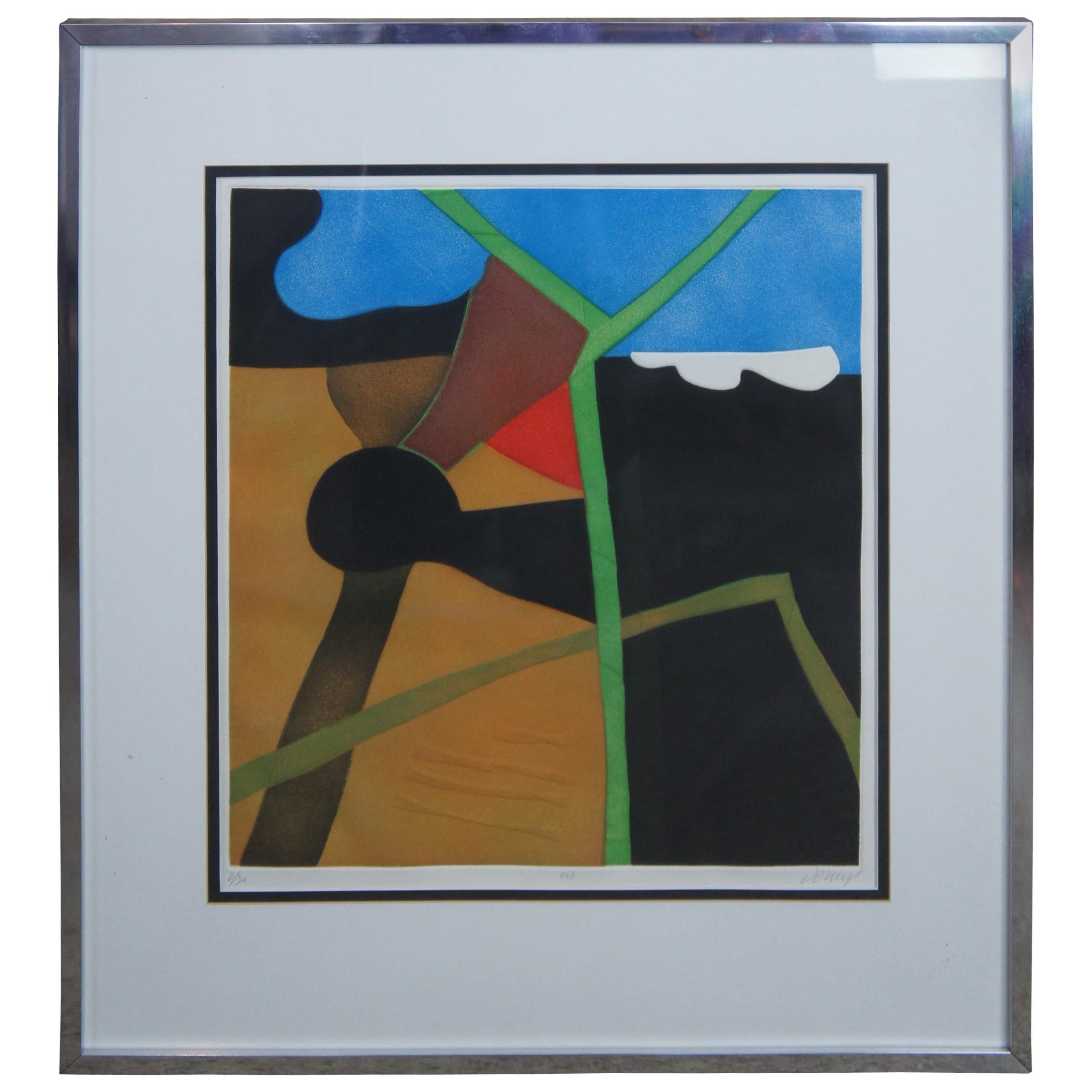 Eve Domy 443 French Abstract Modern Art Hand Signed Serigraph Screen Print