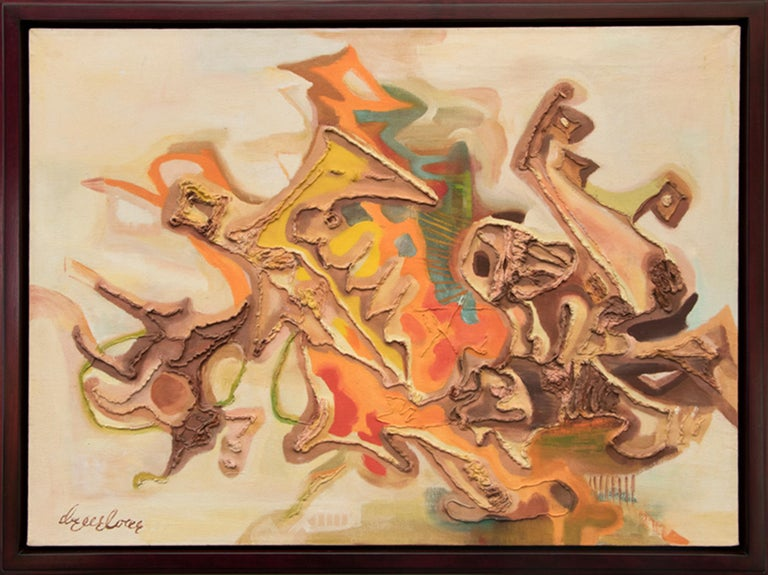 """Original mid-century modern abstract oil painting by renowned Colorado modernist woman artist, Eve Drewelowe (1899-1989) titled """"Alpha - The Beginning"""" painted in earth tones with hues of ivory, tan, beight, brown, yellow, turquoise blue, green,"""