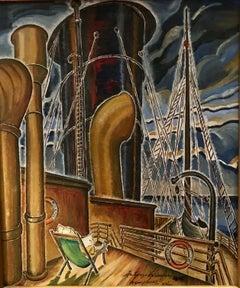 """""""Arcturus, Helsing"""" Modern Oil Painting WPA American Scene Denver Historical Art"""