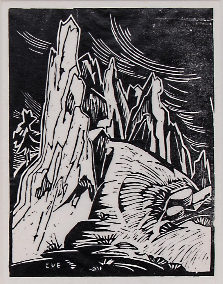 Red Rocks - Boulder, Colorado, an original signed framed black and white woodblock (woodcut) by Colorado modernist woman artist, Eve Drewelowe (1899-1989). Presented in a custom frame with all archival materials and UV protectant glass, outer