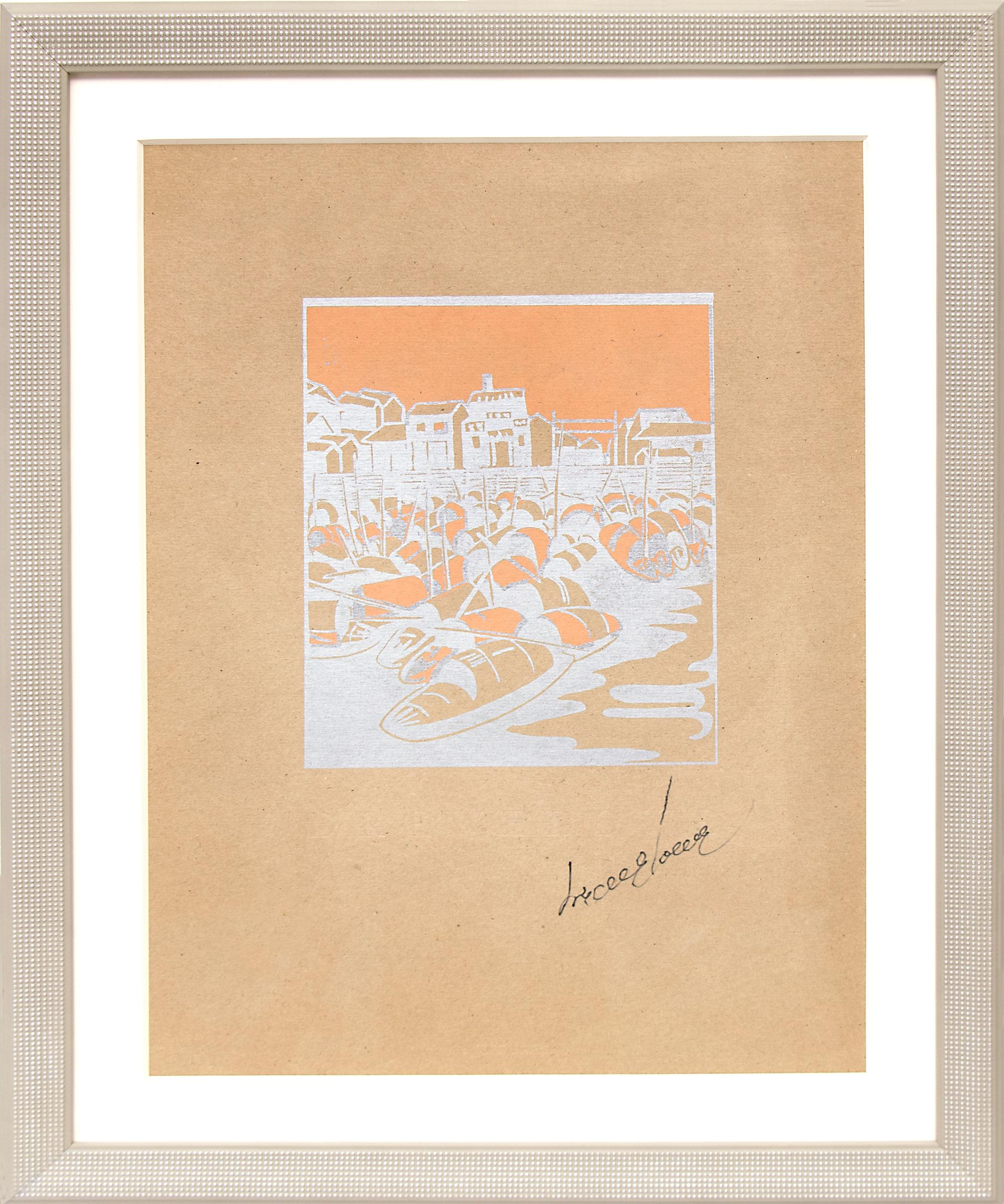 Sampans-Side by Side, Canton, Vintage 1920s Woodcut, Boats in Guangdong, China