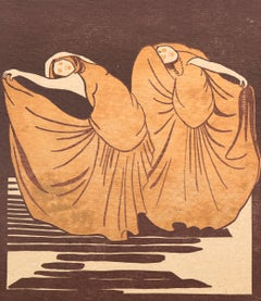 Two Dancers (Untitled) Original Vintage Signed Woodblock Print