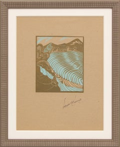 Untitled (Pirouetting Paddies, Rice Terraces, Modernist Woodcut Print)