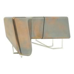 Eve Liquid Aluminium and Bronze Finished Nightstand Cabinet