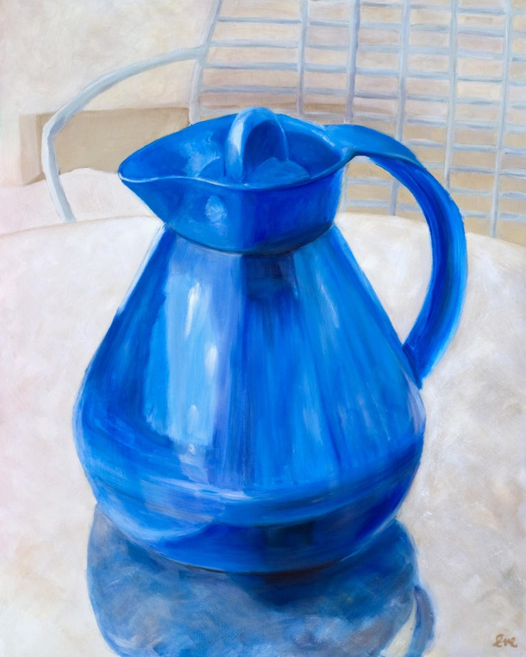 """Eve Plumb Still-Life Painting - """"Blue Valley Ho Pitcher"""""""