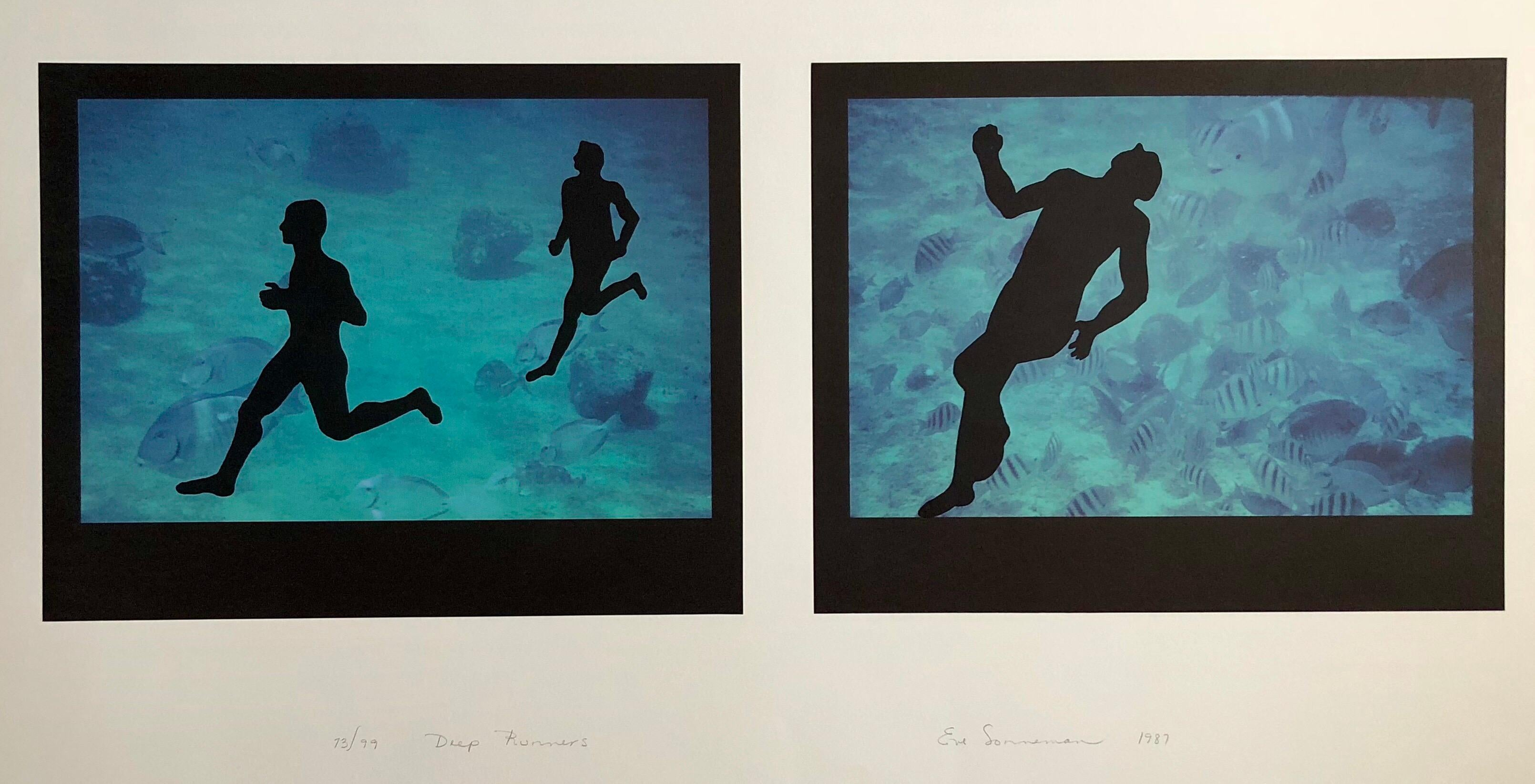 """Large Diptych """"Deep runners"""" Photograph Signed Surrealist Photo Lithograph"""