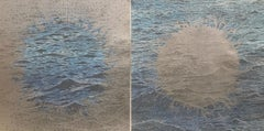 Burst Seascape Diptych 25, Woodcut Prints with Waves in Blue and Silver