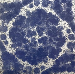 Cluster XI Three, Woodcut Print with Abstract Pattern in Navy Blue on Silver