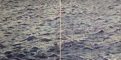 Seascape Diptych 19, Large Horizontal Woodcut of Ocean Waves in Blue