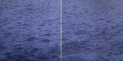 Seascape Diptych Six, Cobalt Blue Horizontal Seascape, Waves Woodcut Print