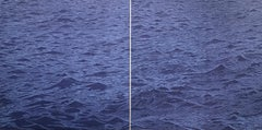 Seascape Diptych Six, Large Horizontal Woodcut of Ocean Waves in Violet, Blue