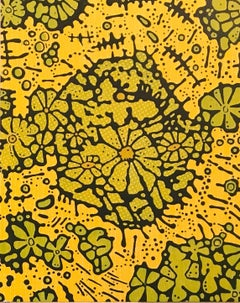 Spring Green, Botanical Woodcut Print with Flowers in Yellow, Light Green