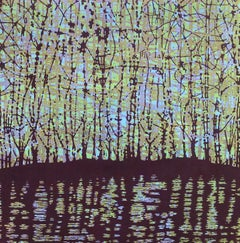 Stream 33, Woodcut Print of Forest and Stream in Purple, Light Blue Yellow Green