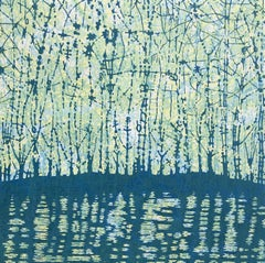 Stream Variation 36, Woodcut of Forest and Stream in Mint Green and Navy Blue