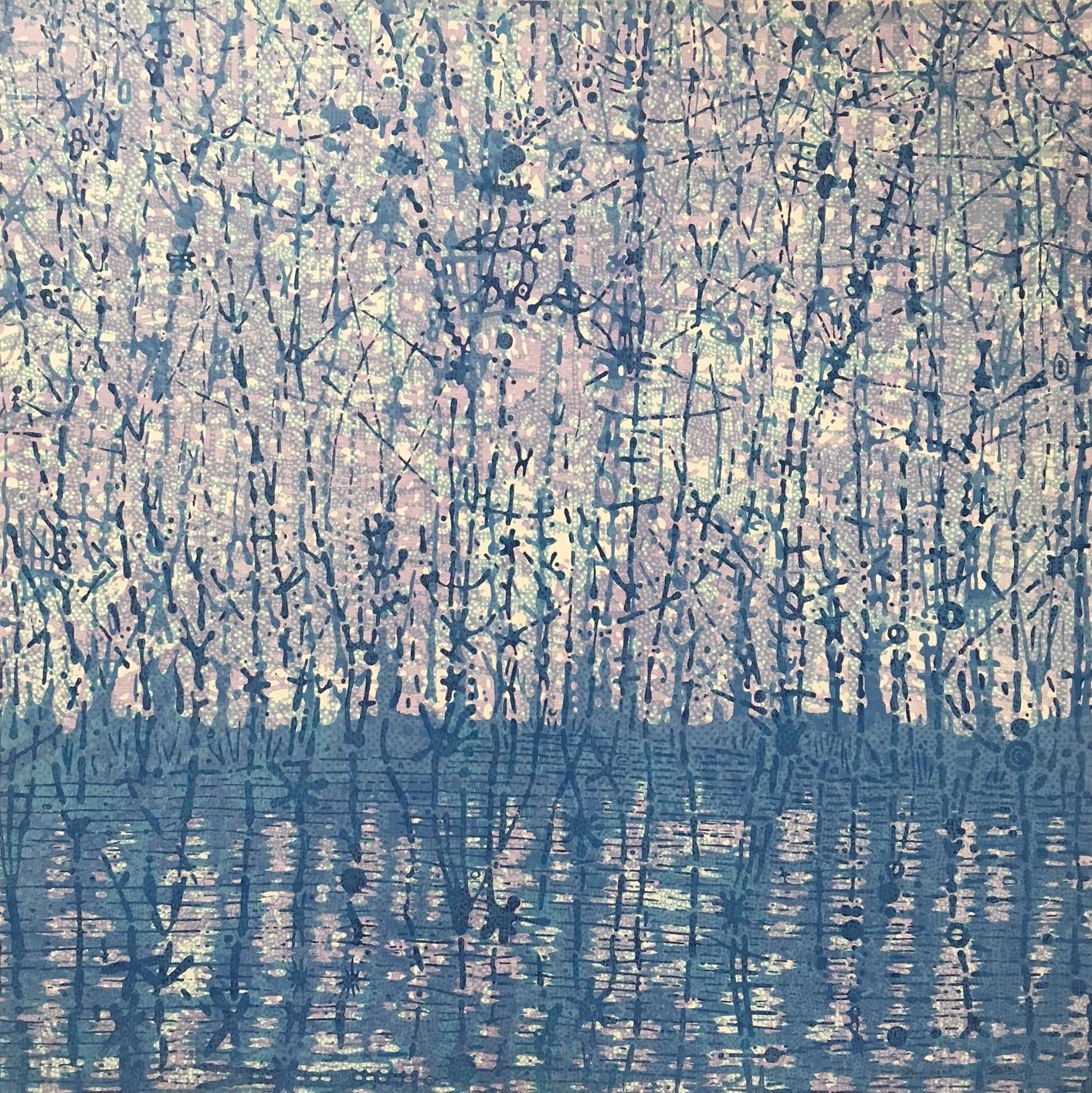 Stream Two, Woodcut Print With Forest Landscape and Water in Blue and Purple