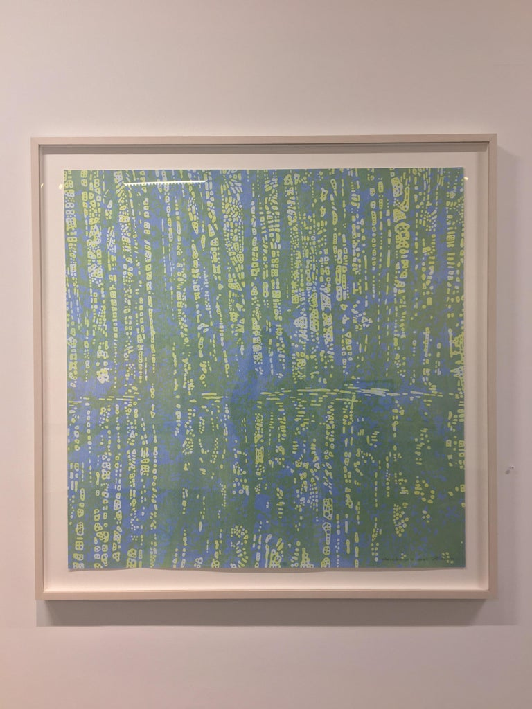 Woodland Landscape IX Variation 8, Nature Woodcut in Light Blue, Pale Yellow - Print by Eve Stockton
