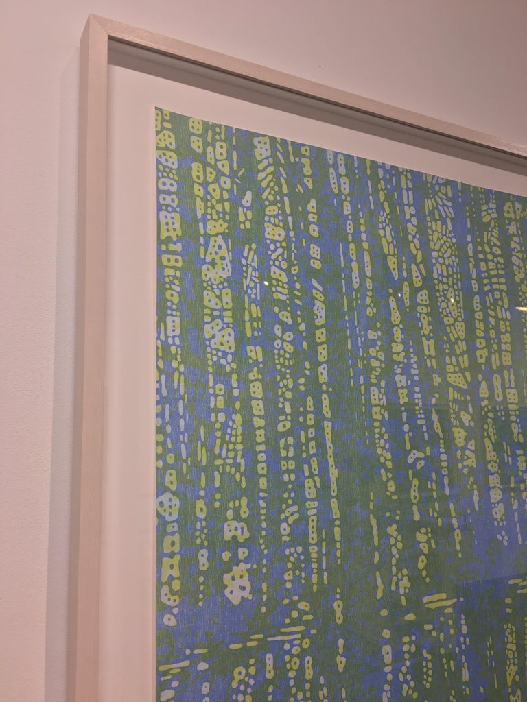 Woodland Landscape IX Variation 8, Nature Woodcut in Light Blue, Pale Yellow - Contemporary Print by Eve Stockton