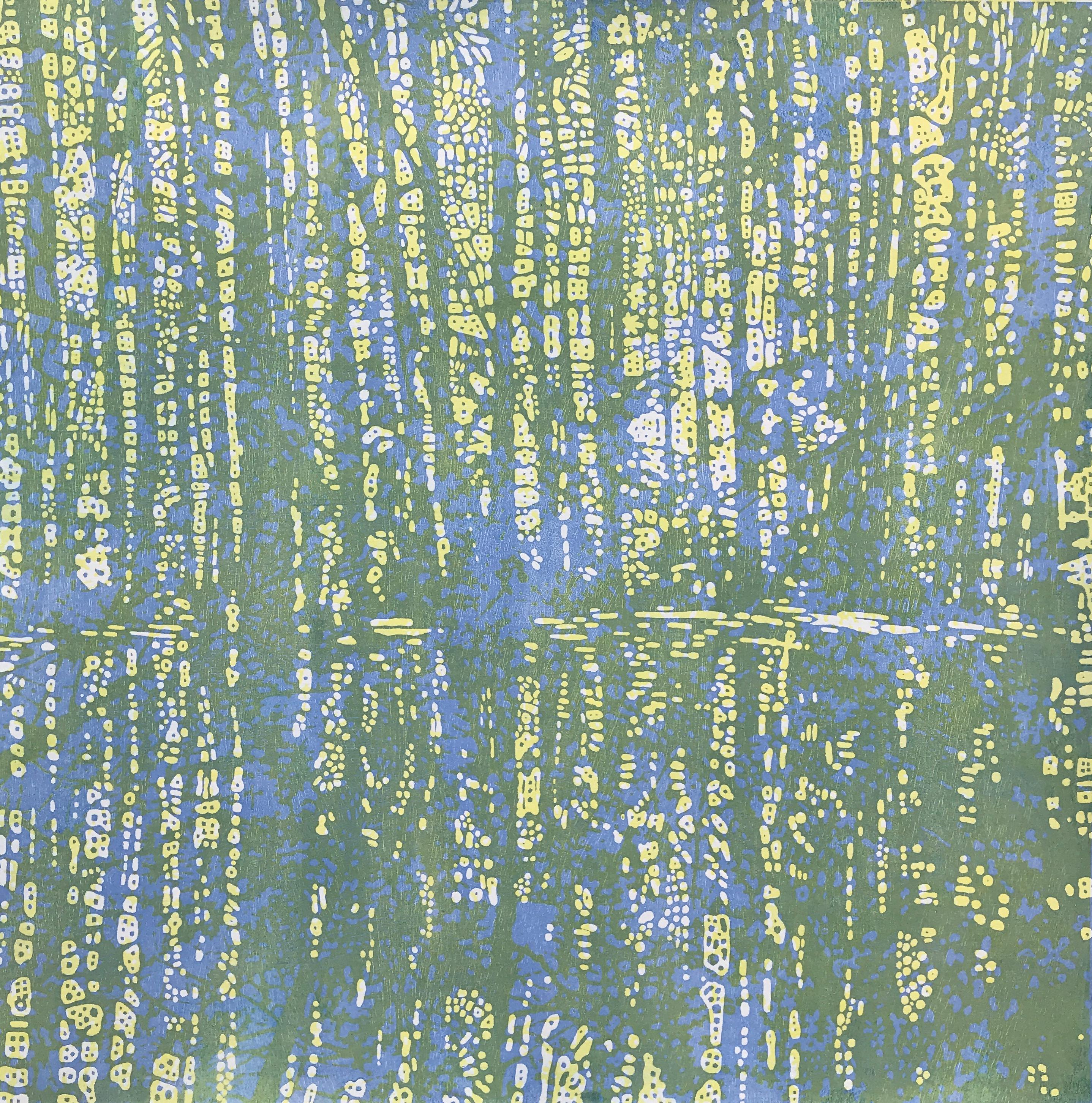 Woodland Landscape IX Eight, Woodcut Print of Forest in Light Blue, Pale Yellow