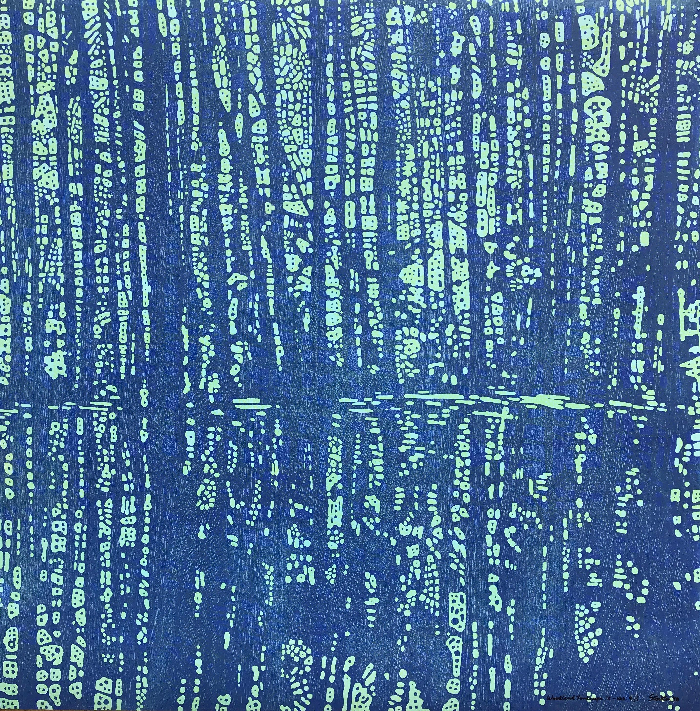 Woodland Landscape IX Nine, Forest Woodcut Print in Dark Navy, Light Mint Green