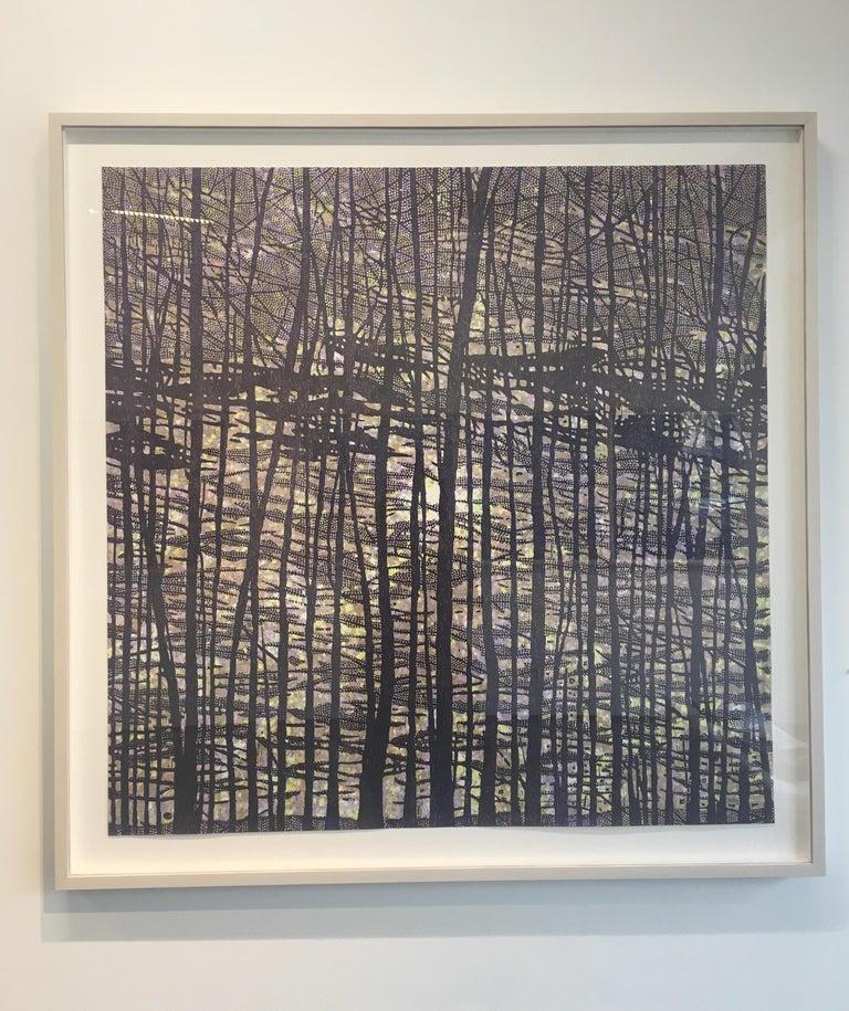 Woodland Landscape VII Variation 13, Nature Woodcut in Dark Navy, Light Purple - Print by Eve Stockton