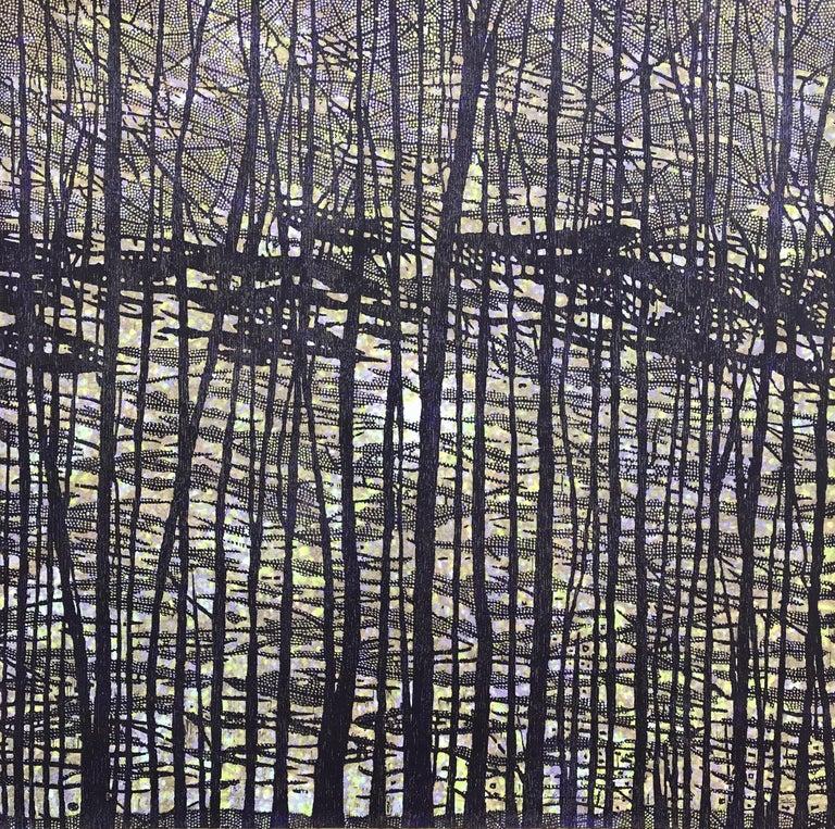 Eve Stockton Landscape Print - Woodland Landscape VII Variation 13, Nature Woodcut in Dark Navy, Light Purple