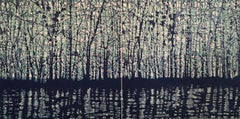 Woodland Landscape VllI Diptych 10, Forest, Woodcut, Pastel Pink, Yellow, Navy