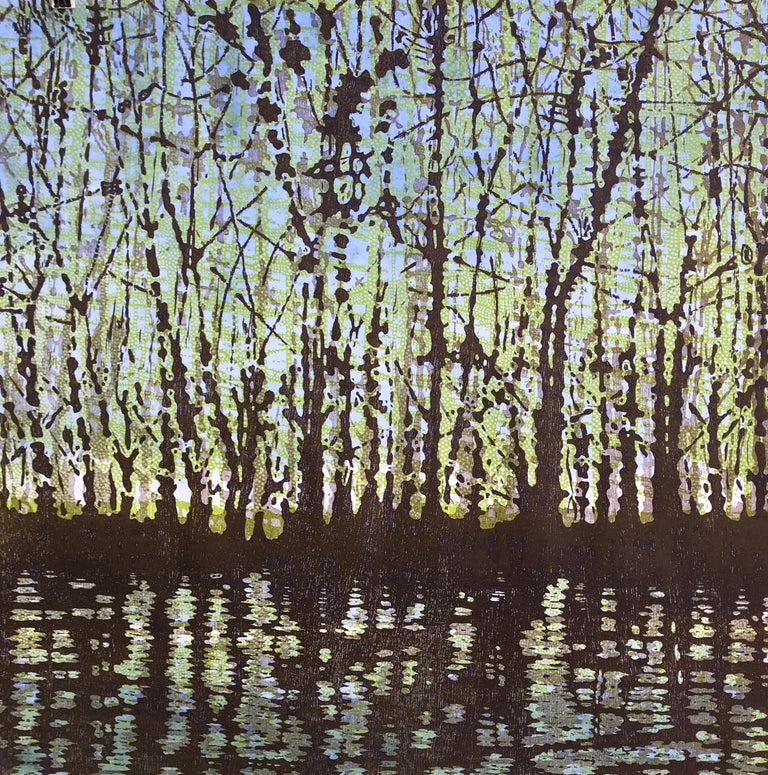 Woodland Landscape VllI Diptych 11, Large Forest Woodcut, Pale Green, Dark Brown - Print by Eve Stockton