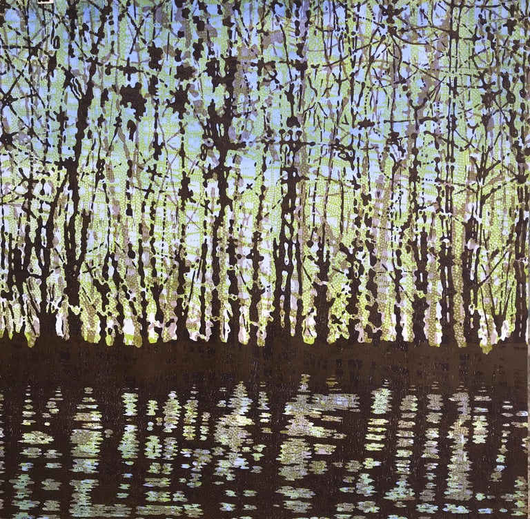 Woodland Landscape VllI Diptych 11, Large Forest Woodcut, Pale Green, Dark Brown - Contemporary Print by Eve Stockton