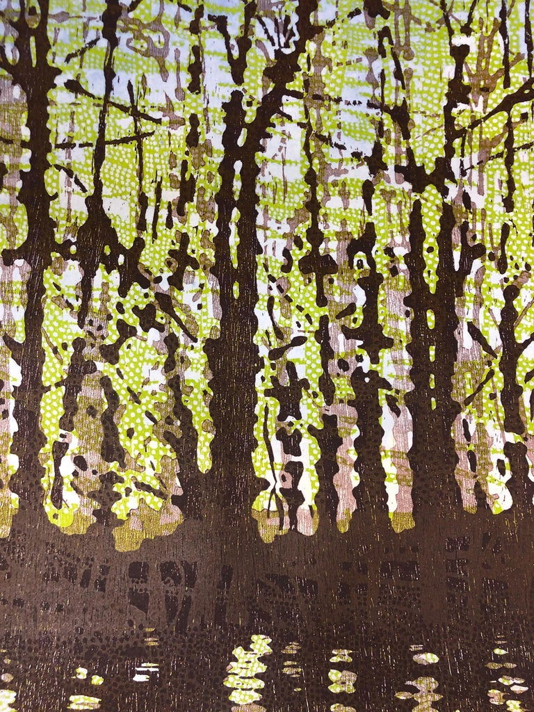 Woodland Landscape VllI Diptych 11, Large Forest Woodcut, Pale Green, Dark Brown - Black Abstract Print by Eve Stockton
