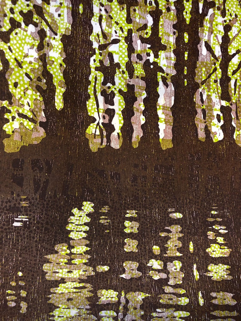 This large horizontal diptych of two woodcut prints on paper evokes the peacefulness of peering through the trees in a dark brown forest landscape against a luminous light green backdrop. The monotype brings to mind the tradition of Japanese