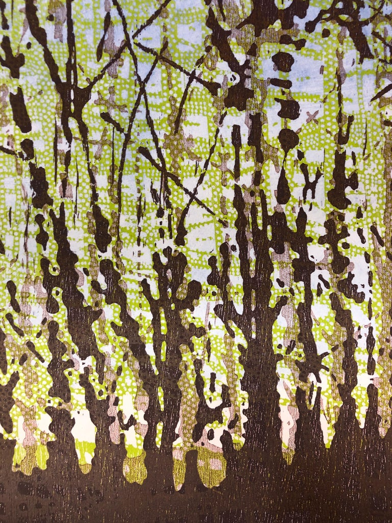 Woodland Landscape VllI Diptych 11, Large Forest Woodcut, Pale Green, Dark Brown For Sale 1