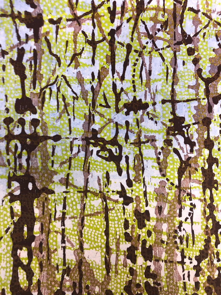 Woodland Landscape VllI Diptych 11, Large Forest Woodcut, Pale Green, Dark Brown For Sale 3