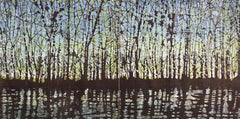 Woodland Landscape VllI Diptych 11, Large Forest Woodcut, Pale Green, Dark Brown