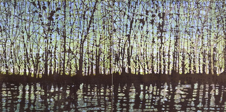Eve Stockton Abstract Print - Woodland Landscape VllI Diptych 11, Large Forest Woodcut, Pale Green, Dark Brown