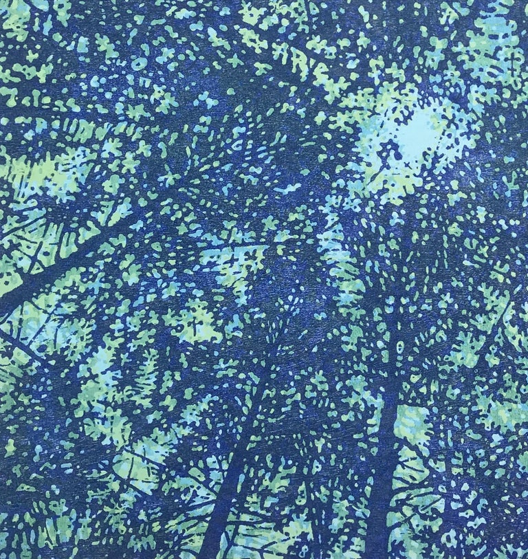 Woodland Skyscape Variation 106, Forest Sky Woodcut in Blue, Teal and Mint Green - Print by Eve Stockton