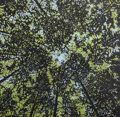 Woodland Skyscape Variation 91, Forest Sky Woodcut in Pale Blue, Green, Navy