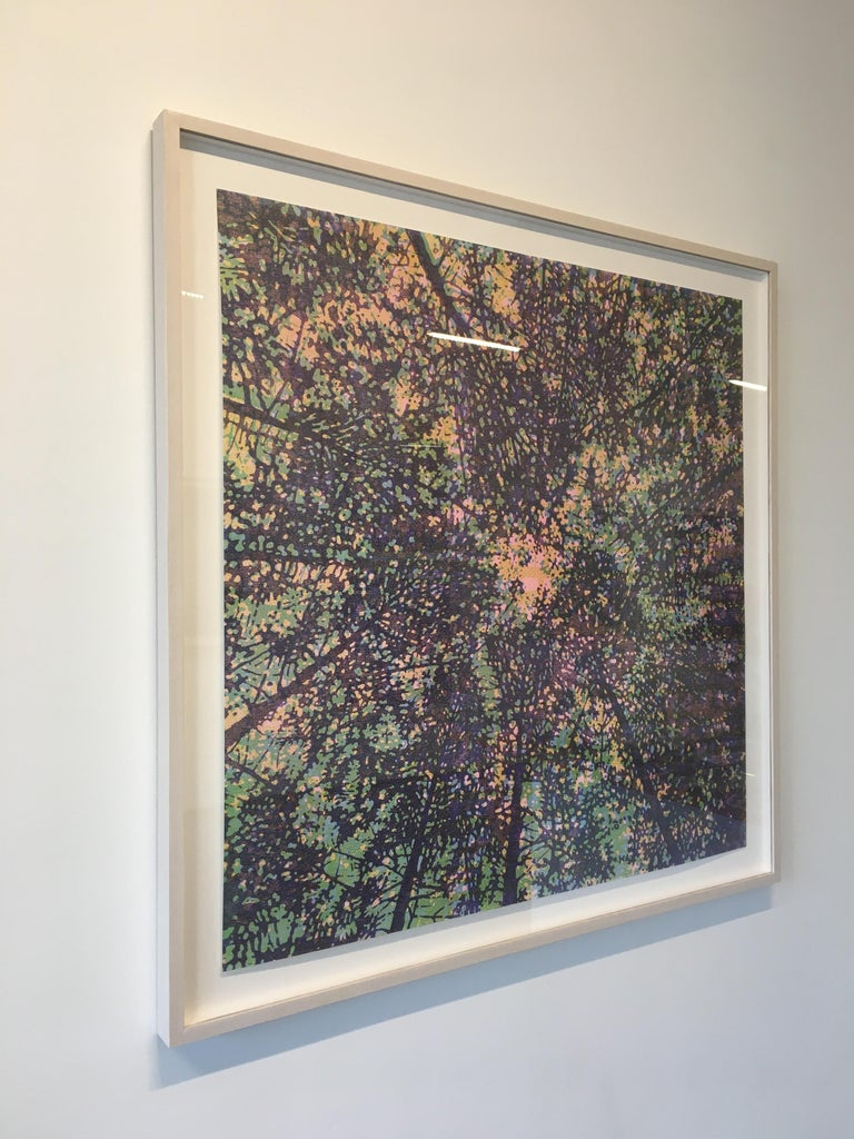 Woodland Skyscape Variation 95, Forest Sky Woodcut in Purple, Green, Yellow - Contemporary Print by Eve Stockton