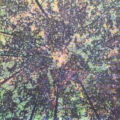 Woodland Skyscape Variation 95, Forest Sky Woodcut in Purple, Green, Yellow
